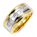 Mens Princess Cut 1.19ct Diamond 14k Two Tone Band Ring