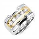 New Mens 14k Yellow White Gold 0.64ct Diamond Band Ring