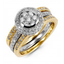 Triple Band 14k Two Tone Gold Round 1ct Diamond Ring