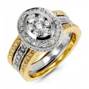 Women's 14K White Yellow Gold Round 1ct Diamond Ring