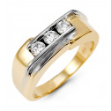 New Mens 14k Yellow White Gold Round Diamond Band Ring