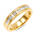 Mens 14k Yellow Gold 1/2ct Baguette Round Diamond Ring