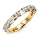 1ct Round Baguette Diamond 14k Yellow Gold Wedding Ring