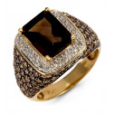 Women's Smoky Topaz Diamond Square 14k Yellow Gold Ring