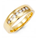 14k Gold Round Diamond Channel Anniversary Band Ring