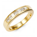 14k Yellow Gold 1/2ct Princess Cut Diamond Channel Ring