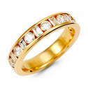 14k Yellow Gold Round Baguette Diamond Anniversary Ring