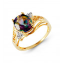 10k Yellow Gold Mystic Fire Topaz Round Diamond Ring