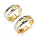 Ladies Mens 14k Yellow White Gold Wedding Band Ring Set