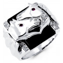 Mens 14k White Gold Onyx Round CZ Horse Heads Ring