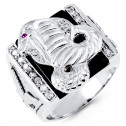 Mens Solid 14k White Gold Elephant Onyx Round CZ Ring