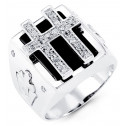 Mens 14k White Gold Onyx Religious Cross Round CZ Ring
