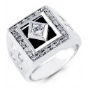 Mens 14k White Gold Black Onyx Round Princess CZ Ring