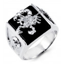 Mens 14k White Gold Scorpion Round CZ Black Onyx Ring
