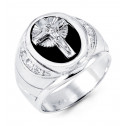 14k White Gold Jesus Cross Round CZ Black Onyx Ring