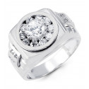 Mens Polished 14k White Gold Circle Cubic Zirconia Ring