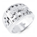 Mens 14k Polished White Gold CZ Jesus Cross Ring Band