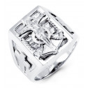 Mens Solid 14k White Gold Baguette CZ Jesus Cross Ring