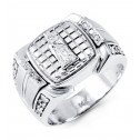 Mens 14k White Gold Virgin Mary Round CZ Religious Ring