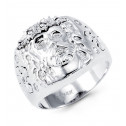 Mens Solid 14k White Gold Round CZ Jesus Religious Ring