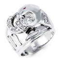 Mens Polished 14k White Gold Solid Round CZ Animal Ring