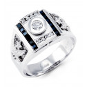 Mens 14k White Gold Blue Princess Clear Round CZ Ring