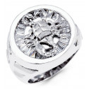 Mens 14k White Gold Baguette CZ Scorpion Fashion Ring