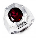 Mens Solid 14k White Gold Red Oval Clear Round CZ Ring