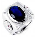 Mens 14k White Gold Oval Blue Clear CZ Fashion Ring