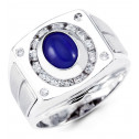 Mens 14k White Gold Oval Blue Cabochon Round CZ Ring