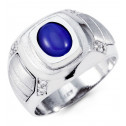 Mens 14k White Gold CZ Oval Blue Cabochon Fashion Ring