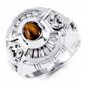 14k White Gold Baguette CZ Oval Tiger Eye Scorpion Ring