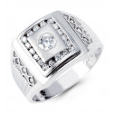 Mens 14k White Gold Round CZ Beautiful Fashion Ring