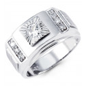 Mens 14k White Gold Round CZ Sunburst Fashion Ring