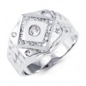 Mens 14k White Gold Princess Round CZ Square Crown Ring