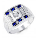 Mens 14k White Gold Blue Color Princess Round CZ Ring