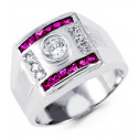 Mens 14k White Gold Wide Band Round Princess CZ Ring