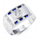 Mens 14k White Gold Round Blue CZ Sunburst Crown Ring