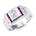 Mens Solid 14k White Gold Round Princess Purple CZ Ring