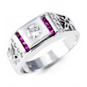 Mens Solid 14k White Gold Purple Princess Round CZ Ring