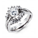 14k White Gold Round Baguette CZ Engagement Ring Set