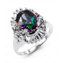 14k White Gold Mystic Fire Topaz Baguette Round CZ Ring