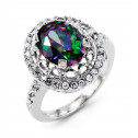 New 14k White Gold Oval Mystic Fire Topaz Round CZ Ring