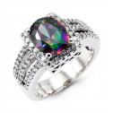 Oval Mystic Fire Topaz Round CZ 14k White Gold Ring