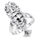 Women's New 14k White Gold Lobster Round CZ  Ring