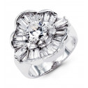 New 14k Solid White Gold Flower Round Baguette CZ Ring