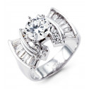 New 14k White Gold Round Baguette Cut CZ Fashion Ring