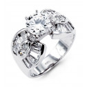 New Women's 14k White Gold Round Cut Baguette CZ Ring