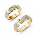 Solid 14k White Yellow Gold Etched Wedding Band Set