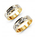 14k White Yellow Gold Engraved Wedding Band Ring Set